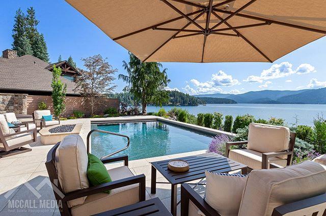 Patio goals. #Pool #CustomHome #Renovation #RealEstate #Idaho #HaydenLake #Summer #Aerial #McCallMedia