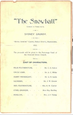 An undated amateur theatrical program from a scrapbook.