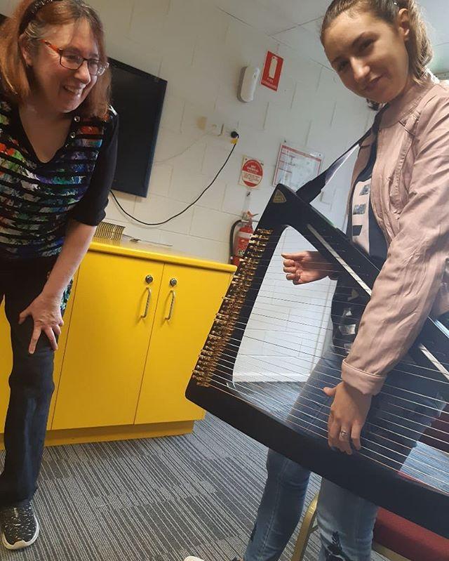 The derpy face says it all -was very excited to try out the cool Delta harp 🎶 I just might start to play rock music on the harp😎  Big thanks to Ann for the demo!  #harpist #harp #rockharp #salviharps #deltaharp #rock #harpsocietyofqueensland #