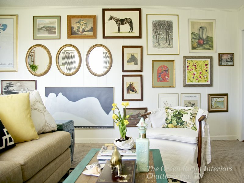 My family room (above) is the only room in my house I painted white. It has a southern exposure and it is bathed in light all day long! The paint color I used is Benjamin Moore Moonlight White. It has just enough yellow in it to keep it from going cold.