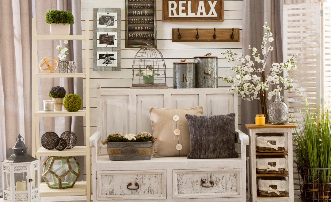 Oh, it's  all  here from the painted distressed furniture to the galvanized accents and inspirational quotes. And I'm pretty sure that's a burlap pillow on that bench.