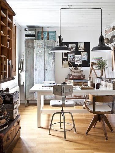 "Black warehouse lights? Check. Metal stool? Check. Old metal locker? Check.  Just between us, I never quite got the appeal of this look . There's nothing comforting about it.  Last one - ""Coastal"" - seen below"