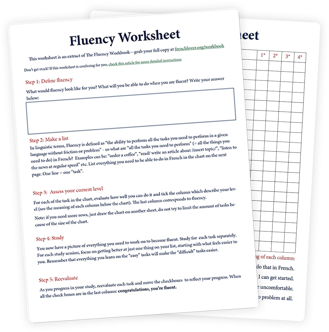 Design your French learning plan with the Fluency worksheet