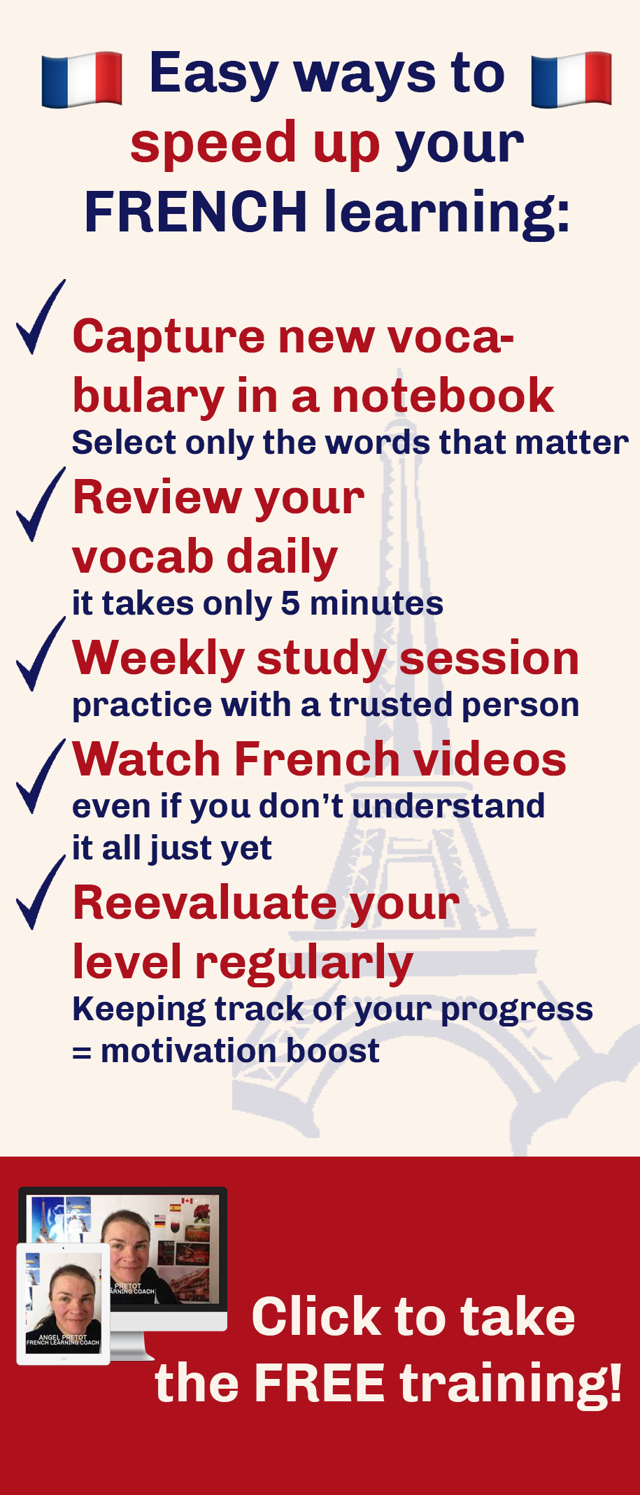 Learning French shouldn't take a lot of time. This free training will show you how you too can learn French fast.