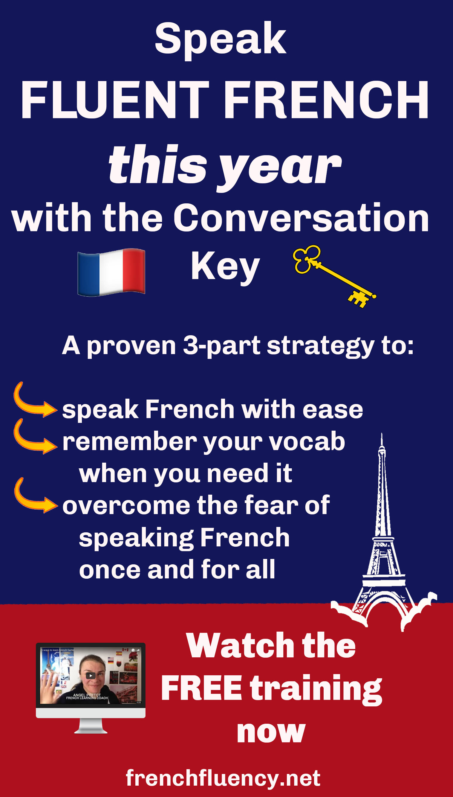 What's trickier than learning French? Actually having conversations in French!  In this new training, I will share with you my 3 steps strategy to overcome the fear of speaking French, actually remember the French vocabulary when you need it, and finally speak French in conversations with ease.  If that sounds interesting, click through to join the training now.