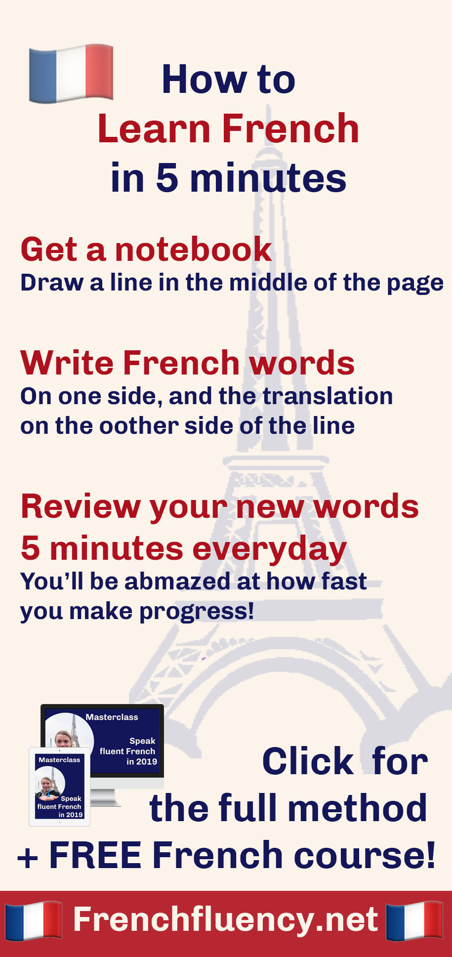 Want to learn French super fast? This simple French learning habit will multiply your progress. Review your vocabulary for just five minutes a day and watch your French speaking skills skyrocket.  #learnfrench #frenchlearning #LearnFrenchFast #fluentfrench #frenchvocabulary #frenchgrammar