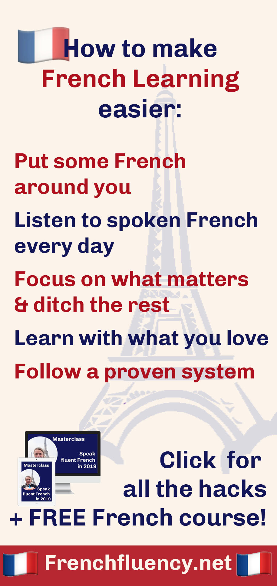 Are you learning French?  Here's some good news: there are many little hacks that you can use to make French learning easier for yourself.     In this article I'm sharing 5 of the most simple hacks you can start using today to learn French faster, more easily and have more fun doing it. Click through to read my best French learning tips.  #learnfrench #frenchlearning #LearnFrenchFast #fluentfrench #frenchvocabulary #frenchgrammar