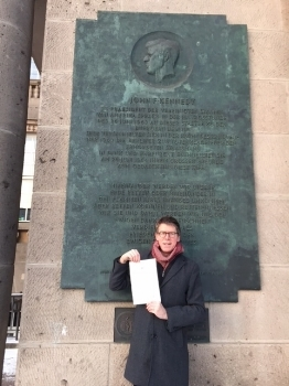 In front of the memorial to John F Kennedy's speech at Berlin's Schoeneberg town hall. January 2017. Picture: HW