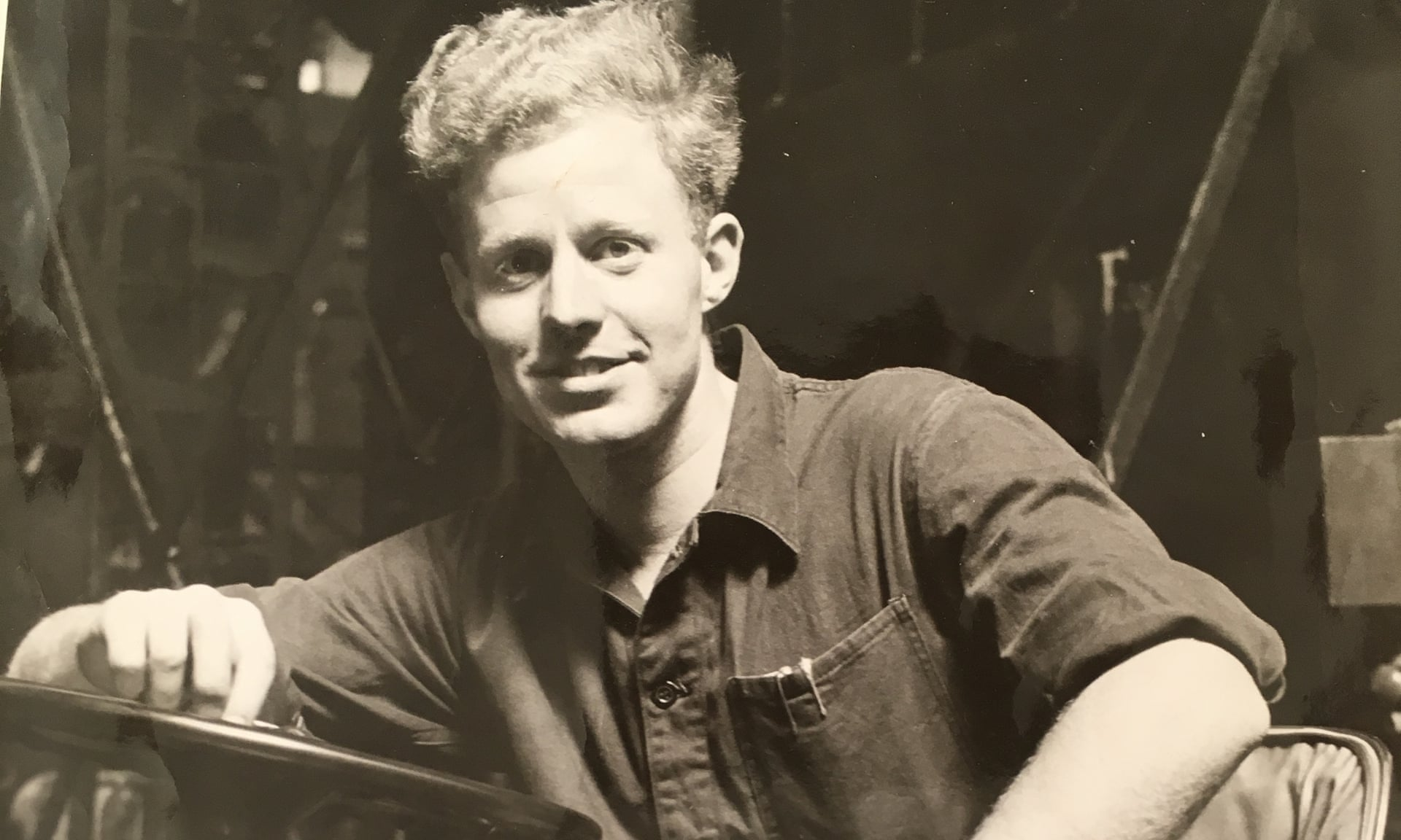 The Rev Tony Williamson in 1960, at work in the Pressed Steel car factory, Cowley, Oxford. Photograph: Courtesy of Oxford Mail