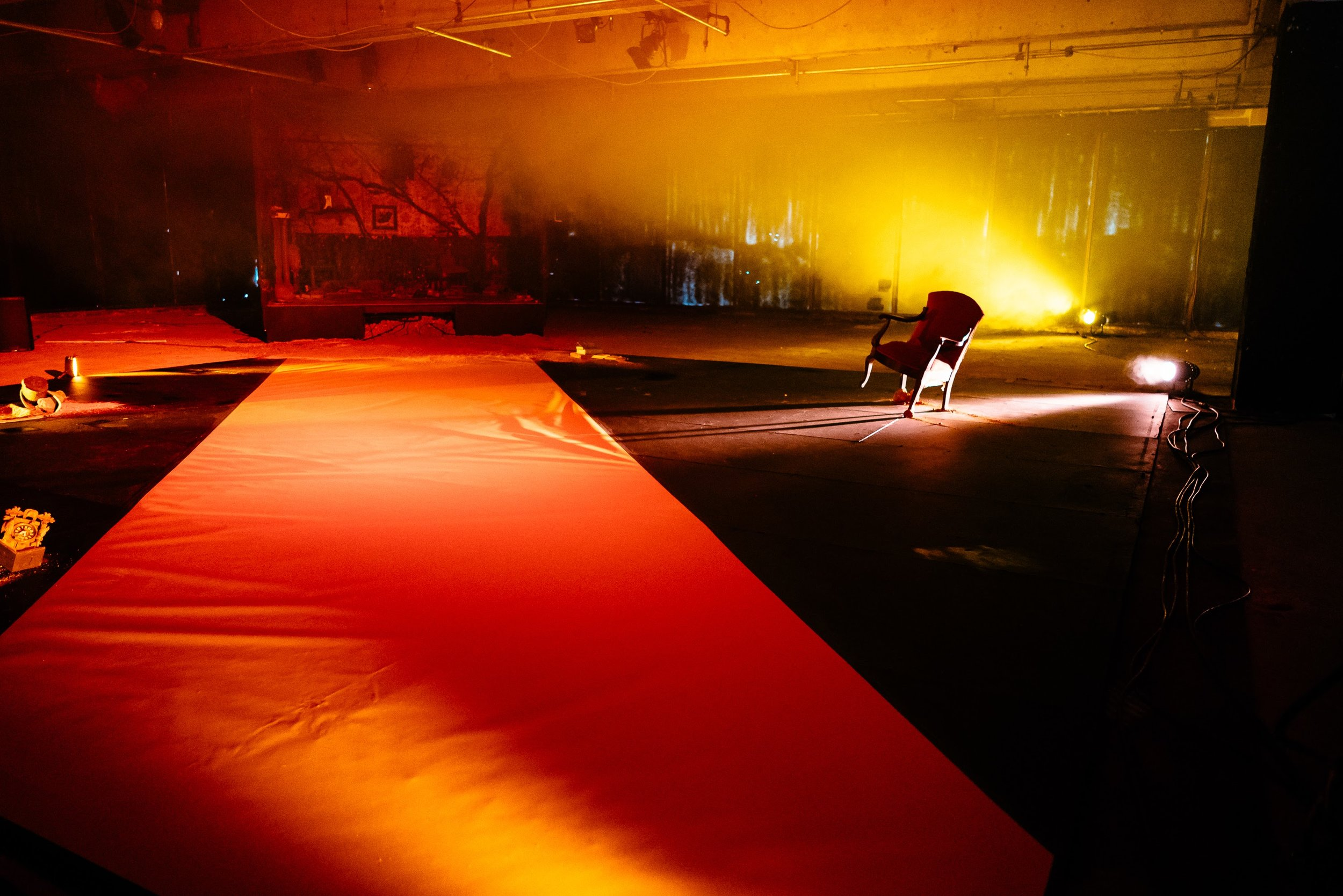 Extended Decay - Paper, light and sound installation in collaboration with Dorothy O'Connor in vacant structure.