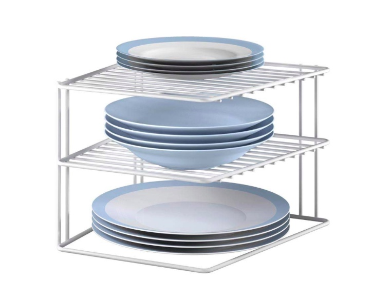 Plate Holder - Stacking plates on a wire holder makes perfect sense. You use the space in your cupboard to make the most of vertical height. You can stack different size plates and they are easier to access. Check out the plate holder here.