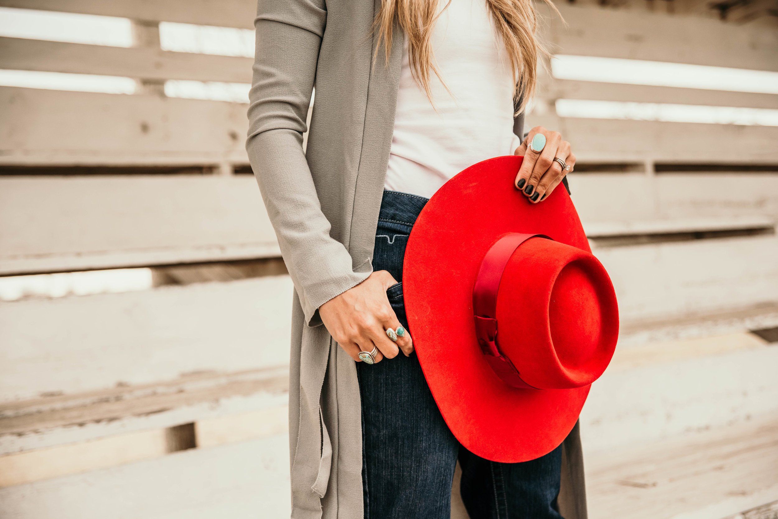 Miss. Miller's Photography | Kimes Ranch Jeans | Western Couture | Red felt hat western | cowgirl fashion | Heritage Customs