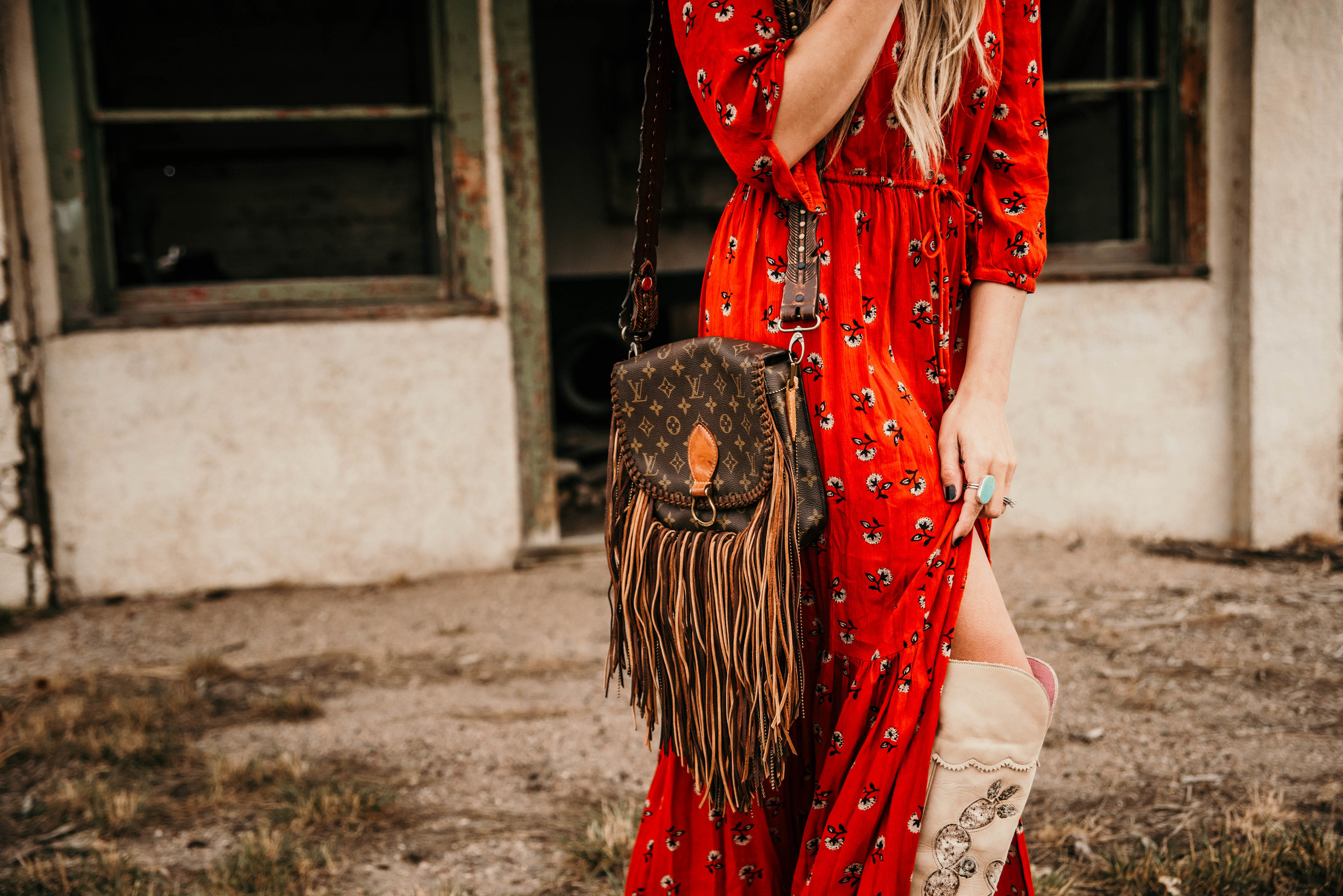 Miss. Miller's Photography | Vintage Boho Bags | Western Fashion | Cowgirl Fashion | Red boho dress | spring red dress | Western Couture
