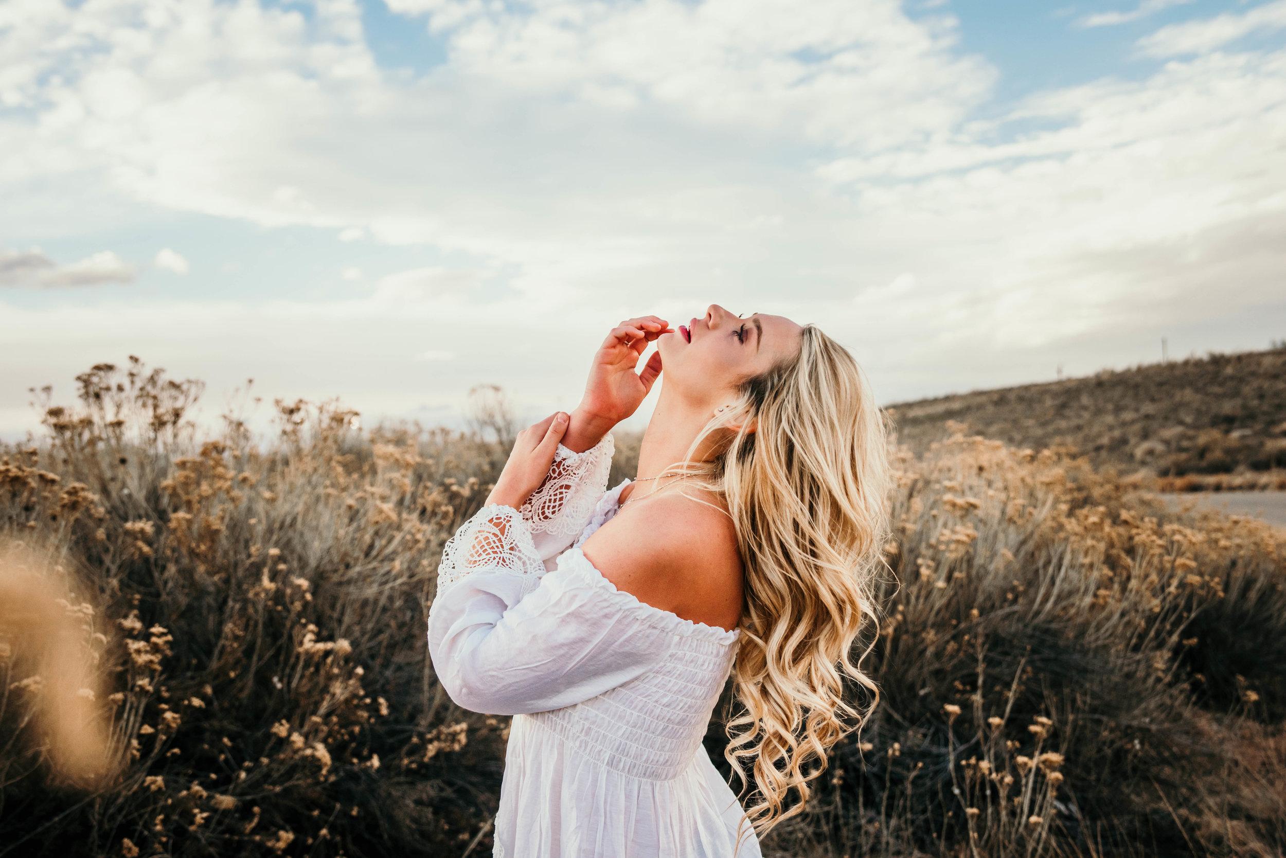 Miss. Miller's Photography | Colorado Senior Photographer | senior photo shoot ideas | boho senior session | Colorado girl | white strapless top | white peasant blouse | modern senior photos | 2018 senior photo ideas | candid senior photo ideas