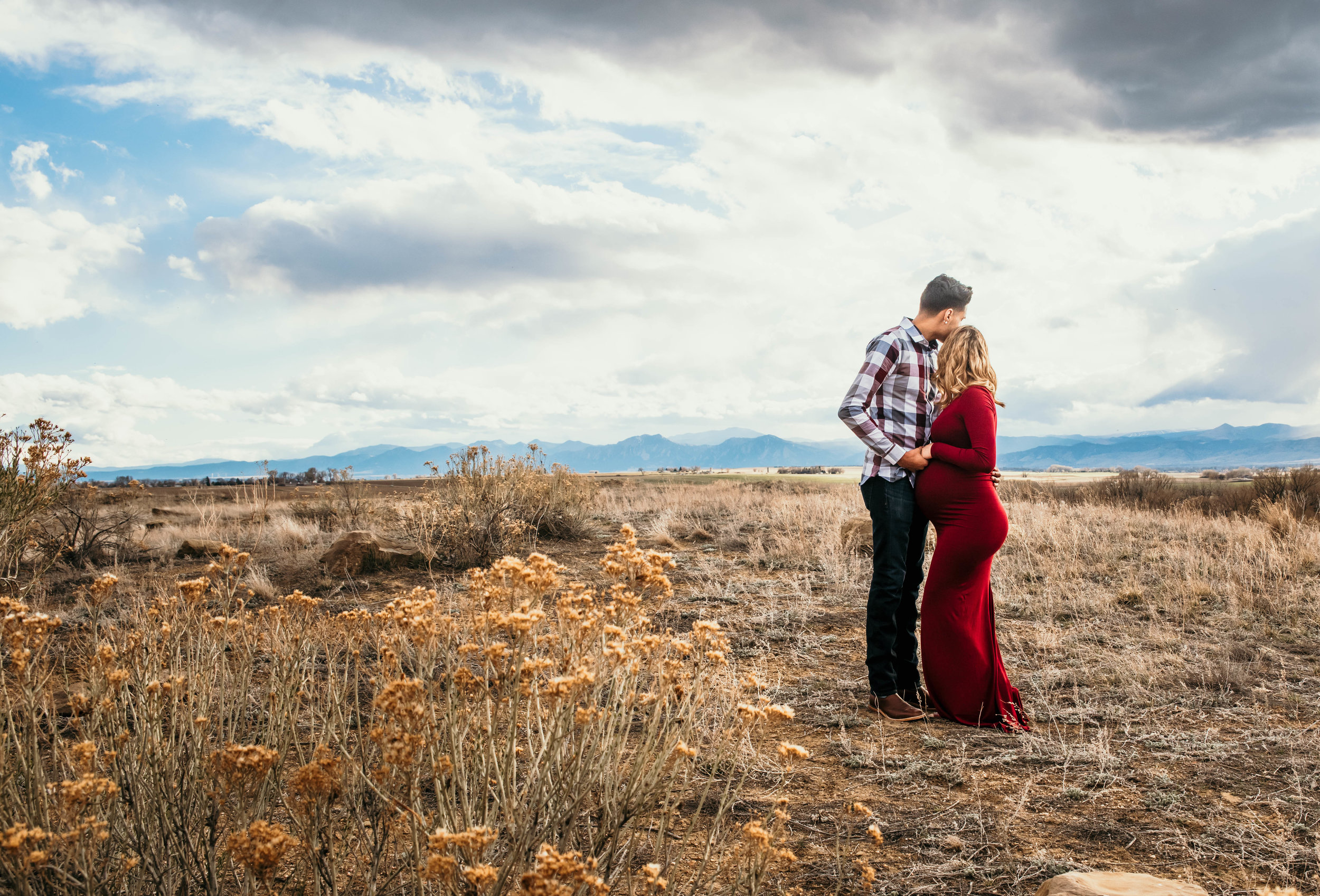 Miss. Miller's Photography | Colorado Photographer | Denver Photographer | red maternity gown | red maternity dress | country maternity photos | Colorado photo shoot | maternity photo shoot ideas