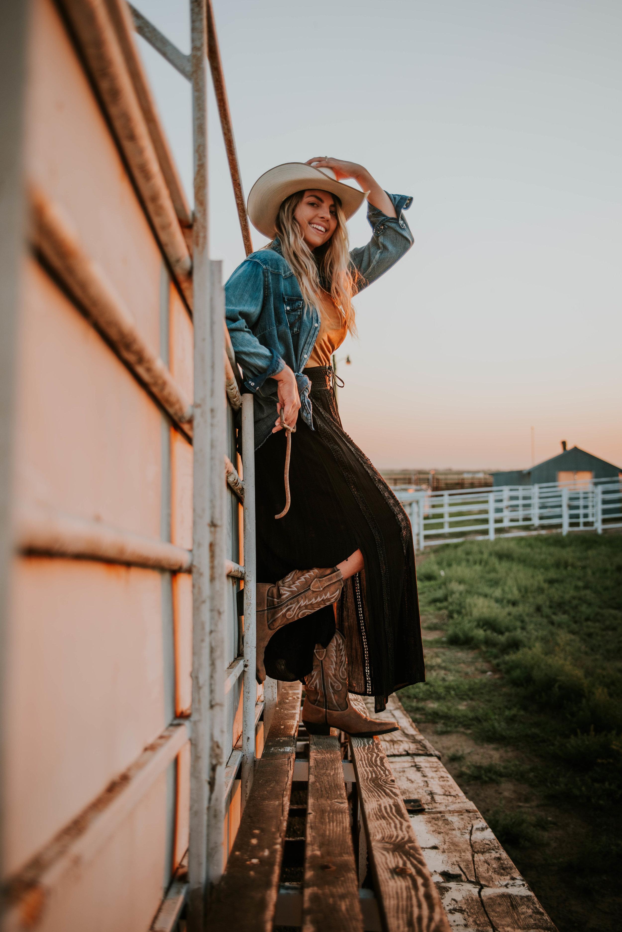 Miss. Miller's Photography | Colorado | Western Photo shoot | Western Fashion | Wrangler | Wrangler jacket | Black western skirt | black skirt | Boots and skirts | Boot fashion | Western Boot Fashion | Cowgirl Fashion | Durango Boots | Brown Durango Boots | Durango Dream Catchers