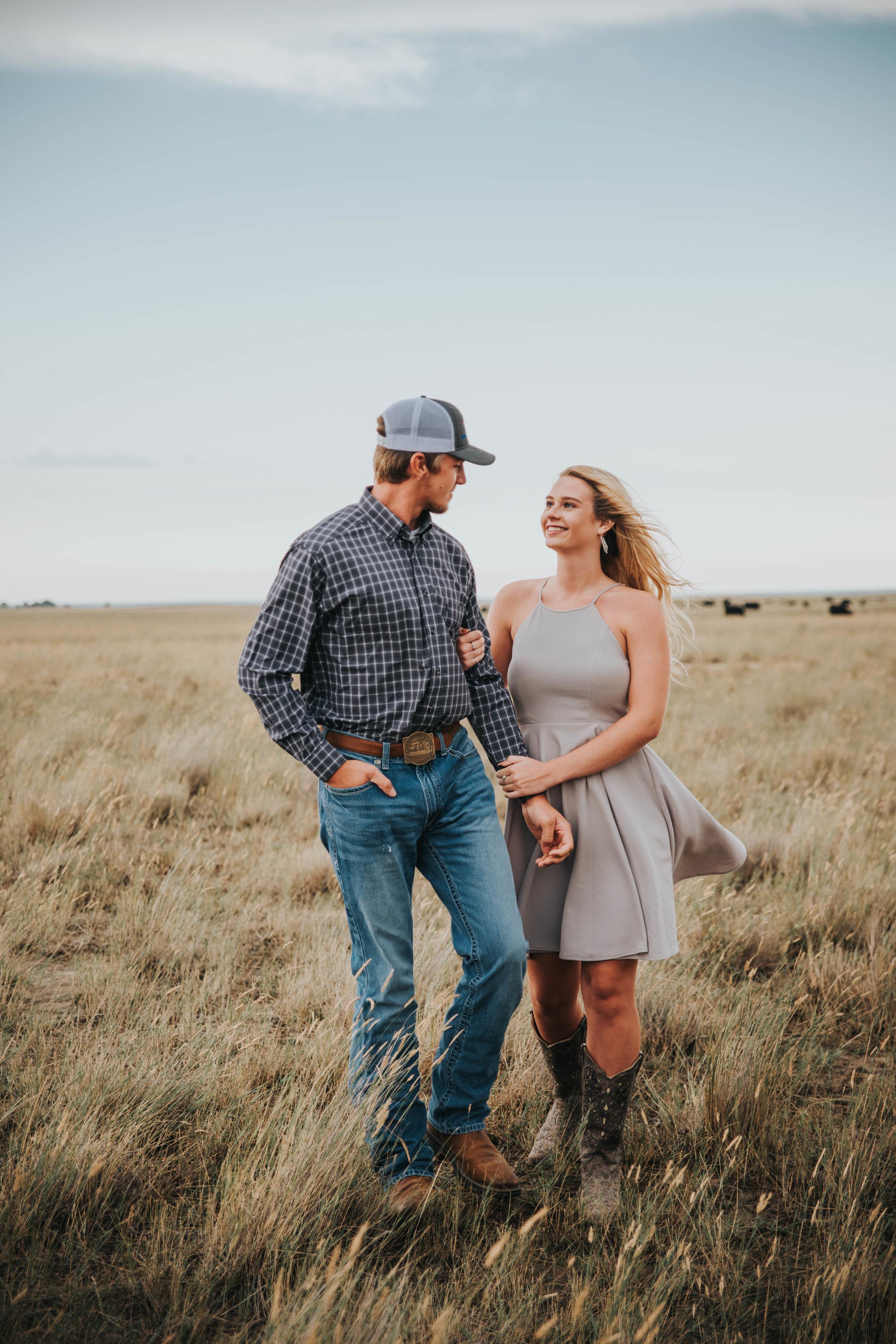 Miss. Miller's Photography | Colorado Wedding Photographer | Buckskin Bride | Western Engagement Photos | Country Engagement Photos | Country couples poses | Colorado Photographer | Looks Like Film | LuLus dresses | Ariat Jeans | Western Couple | Country Couple | Couples Photos | Engagement Inspiration