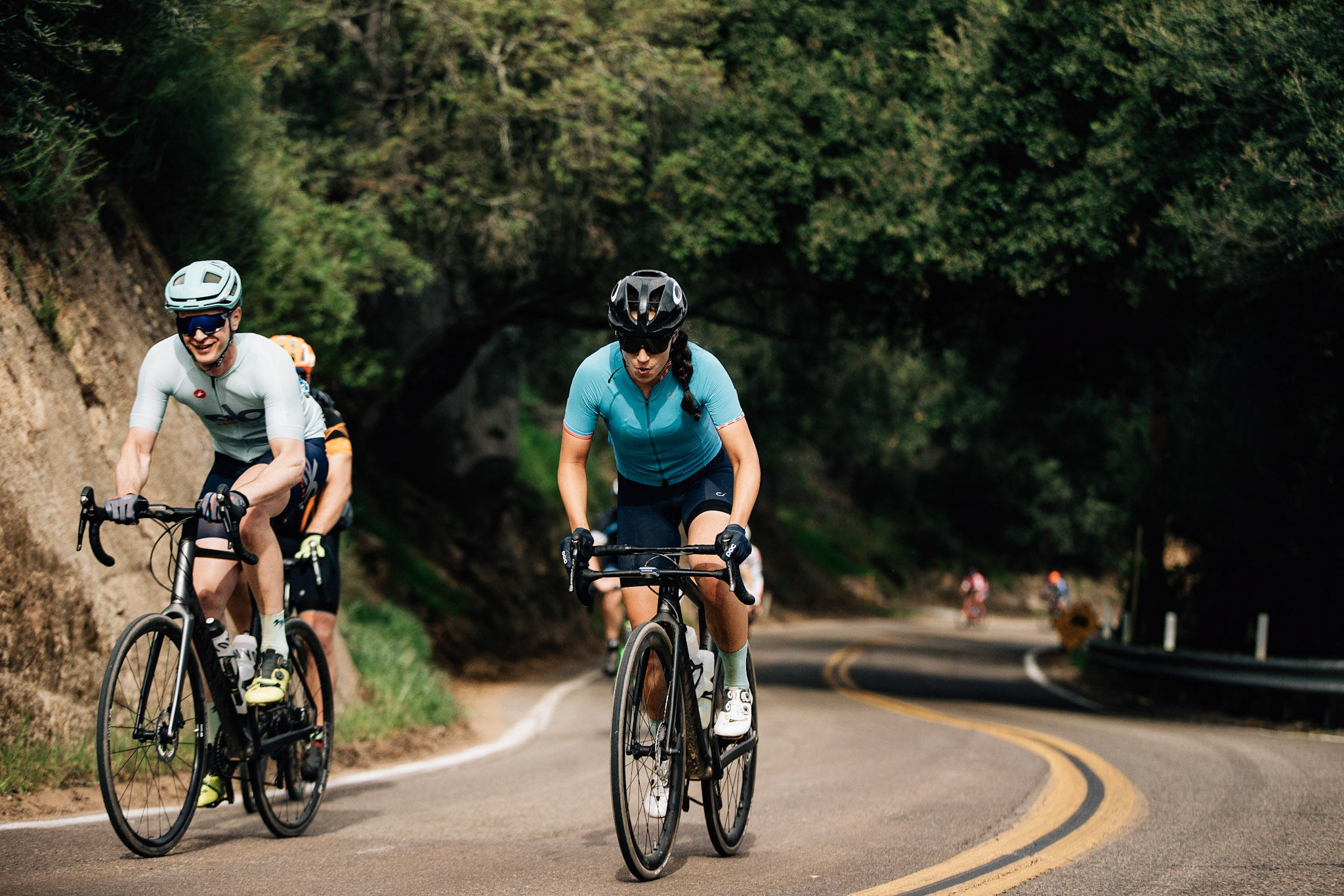 Jake Mclaughlin and Katie Araujo, both riding Canyons, are 2 of our stronger North County cyclists.