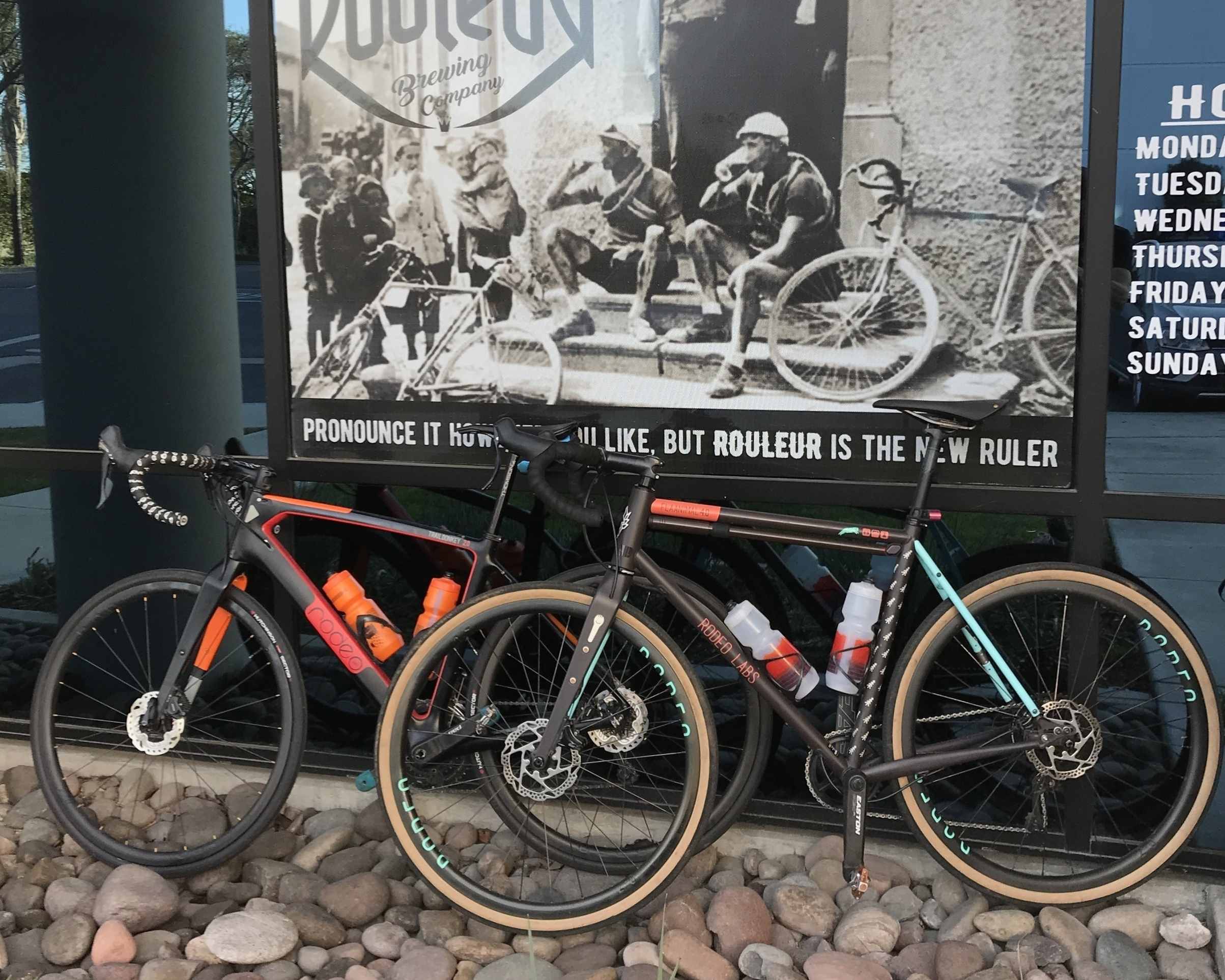 Trail Donkey and Flaanimal bikes by Rodeo Adventure Labs Bikes outside Rouleur Brewing Co., a friendly place for such things.