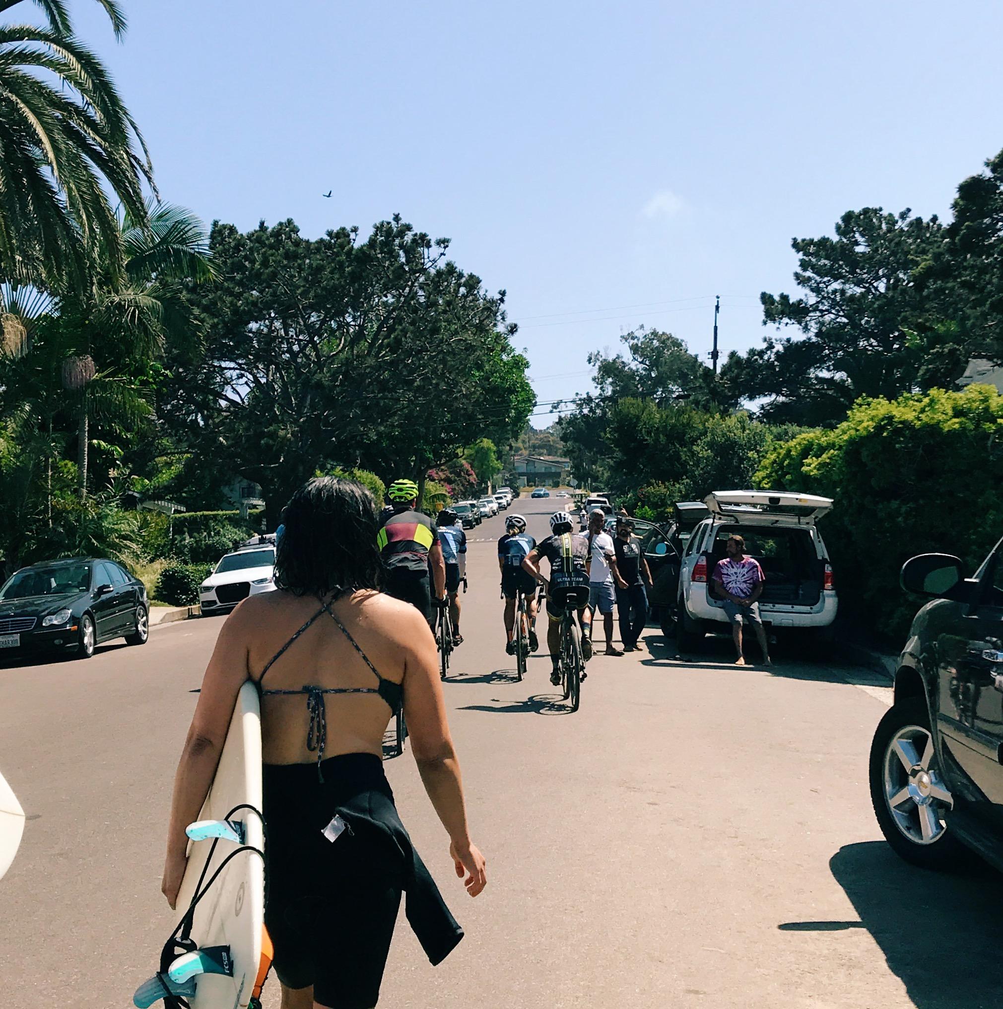 Passing surfer girl in Solana Beach, California, how do you gravel?