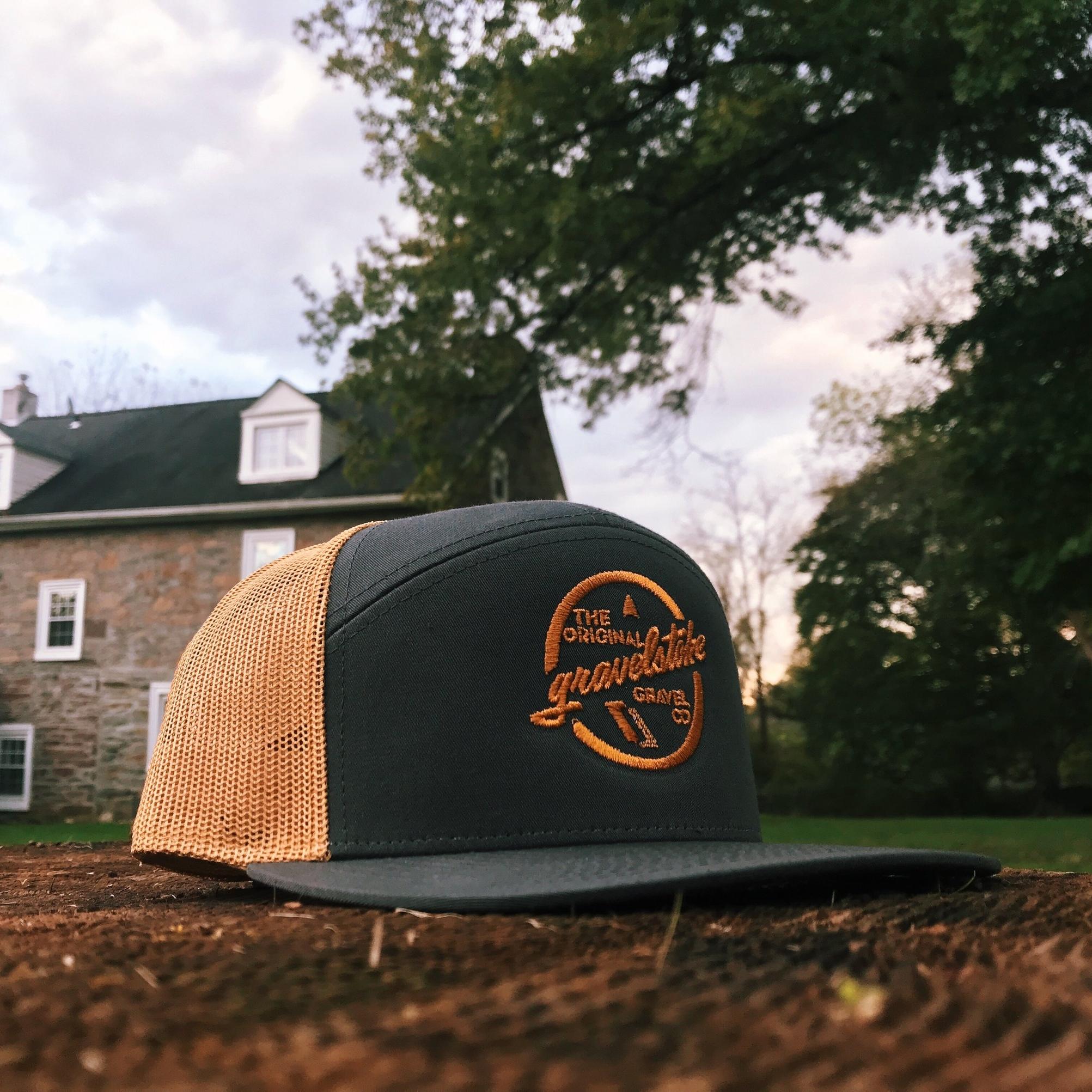 Charcoal / Gold Richardson 7 Panel Trucker Hat