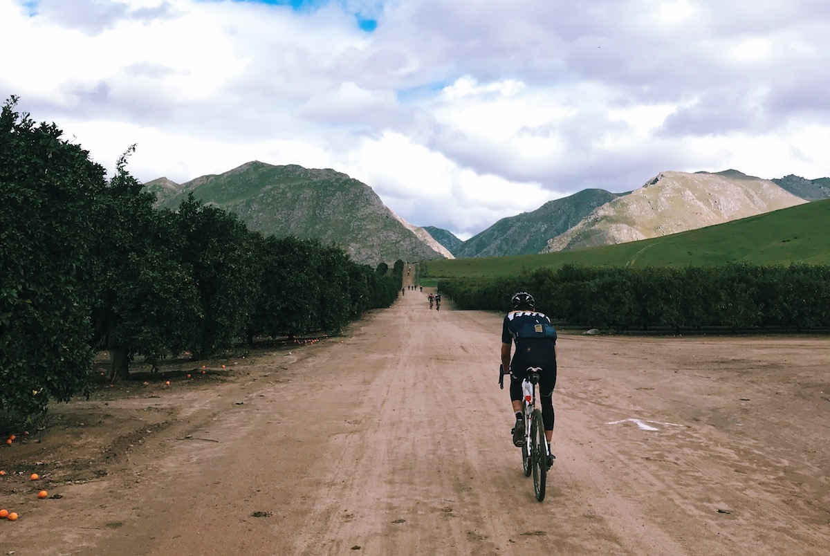 Smooth gravel as riders approached the mountains east of Bakersfield