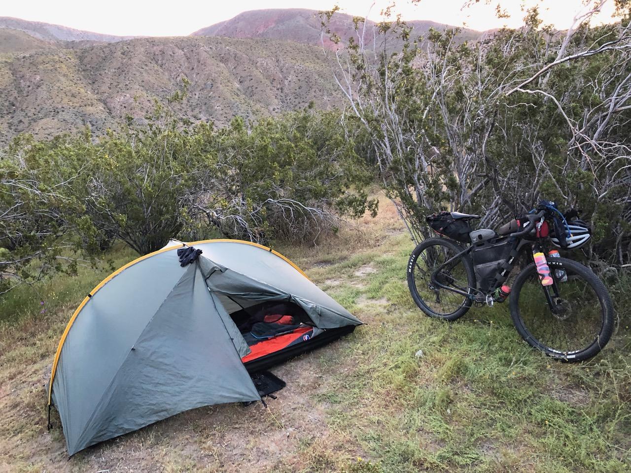 Tarp tent set up at Bailey's Cabin