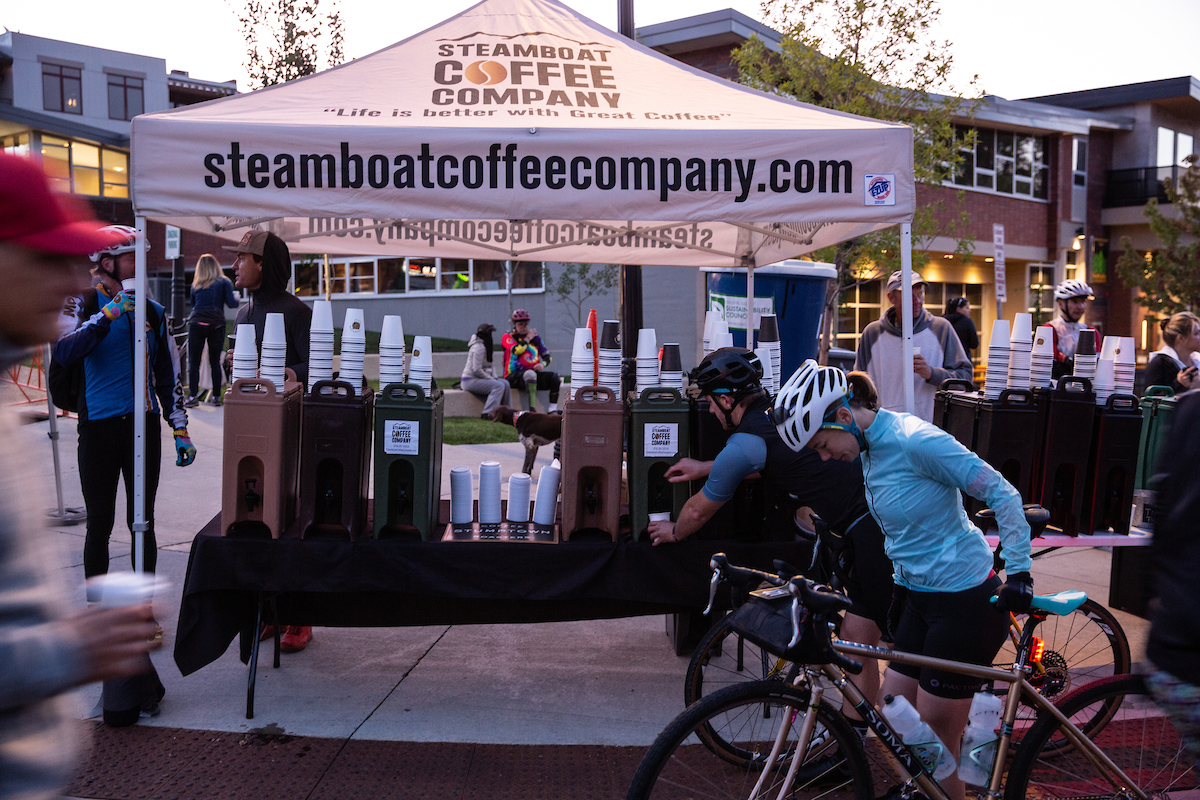 After an evening of sleep at altitude, riders arrived early for a 6:30AM start. Sponsors included the local Steamboat Coffee Co, offering much needed caffeine for racers. PC: Wil Matthews