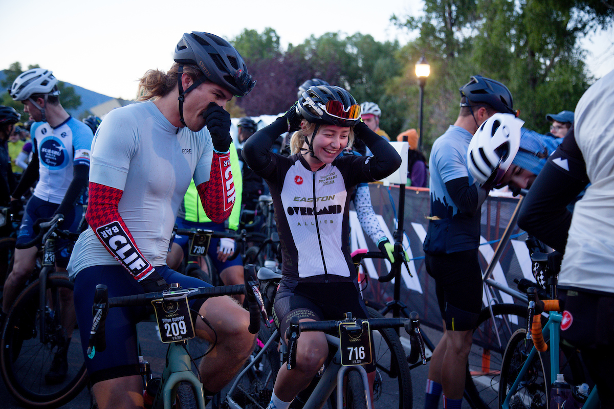 2019 Queen of Kanza Amity Rockwell was all smiles at the start, and would end up finishing in the top 20 among women on SBT Black. PC: Linda Guerratte