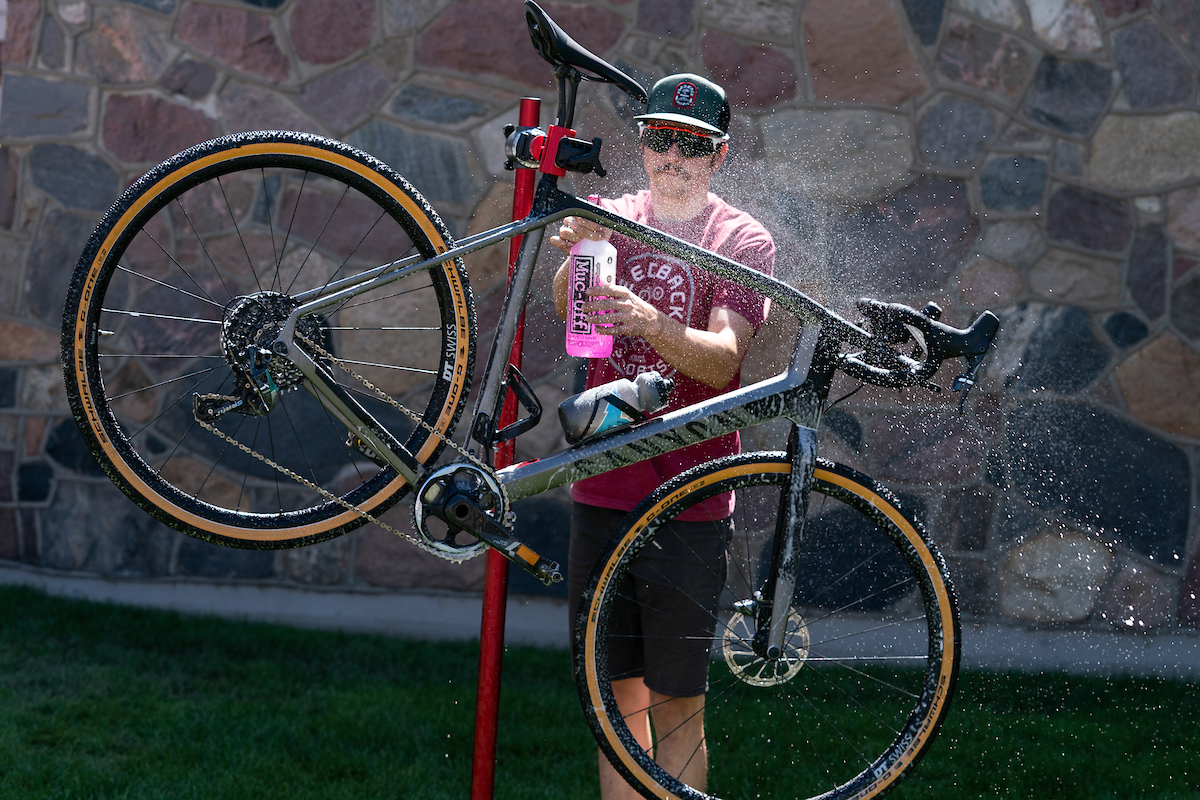 A post-race bike wash courtesy of Muc-off. PC: Dane Cronin