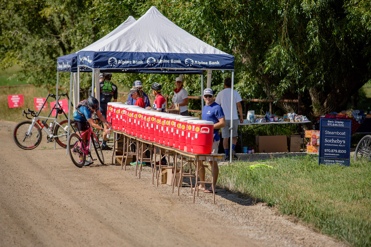 The four aid stations on course were well stocked with GU products and other treats. PC: Linda Guerratte