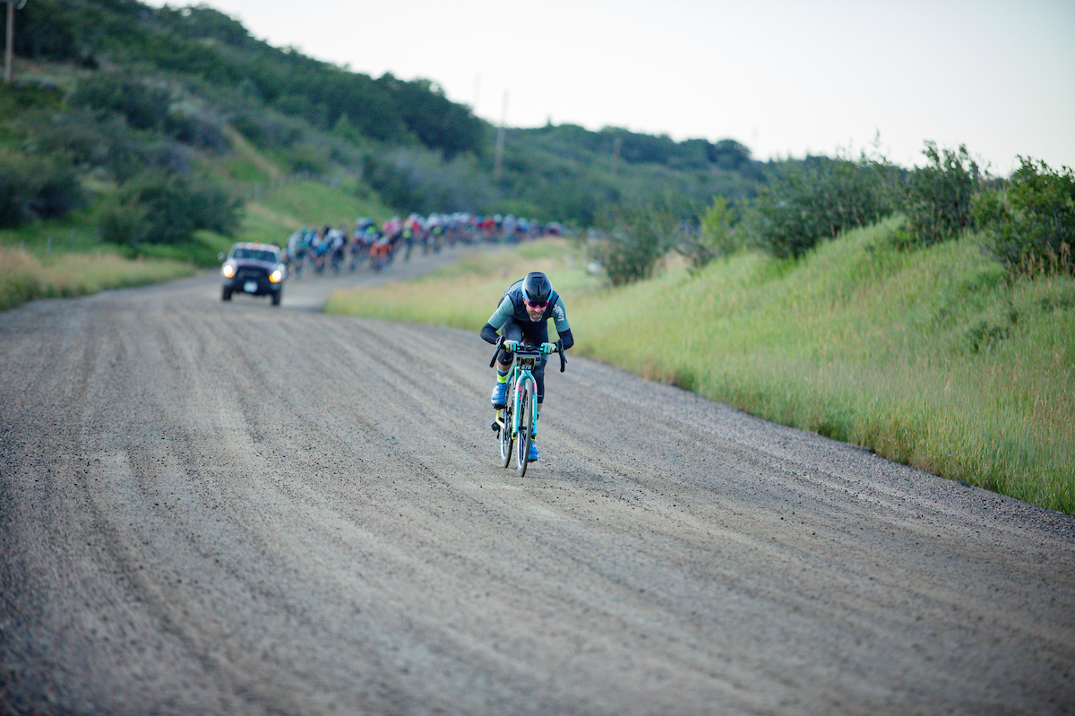 "Timothy Rugg, seen here breaking away, said about the weekend, ""After four months of struggling I finally found the fun on some of the best gravel roads I've ever ridden."" Good on you Tim. PC: Linda Guerratte"