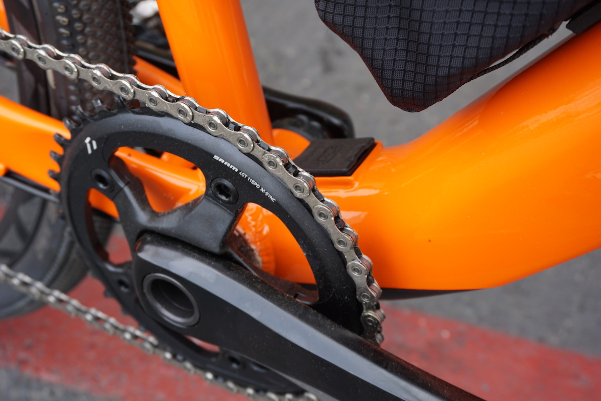 The charge port on the Gain is located just behind the front chainring