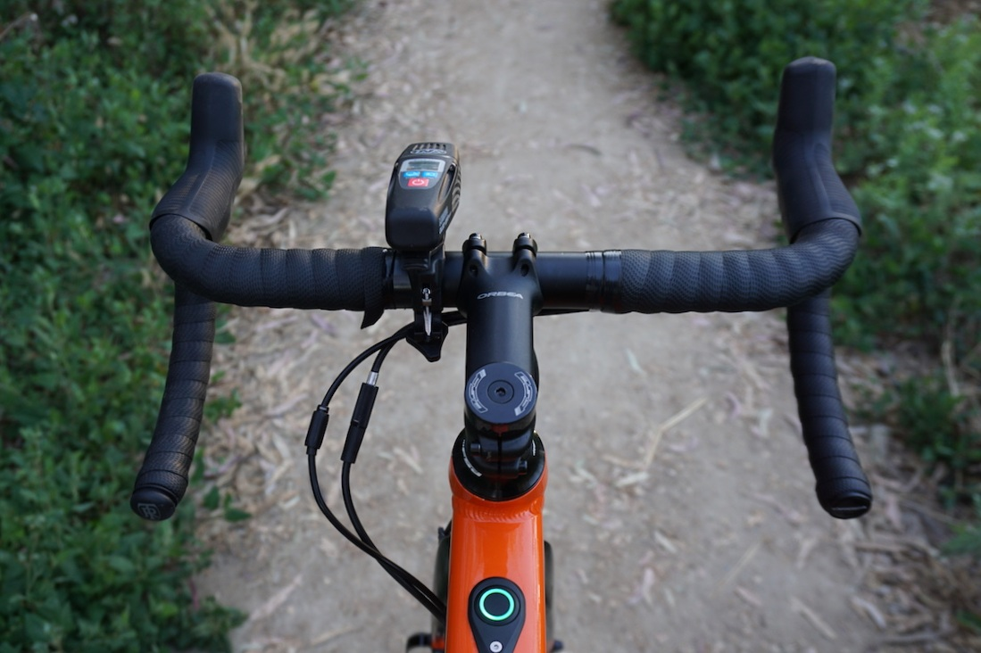 Cockpit view on the Orbea Gain show little to no flare on the equipped handlebars