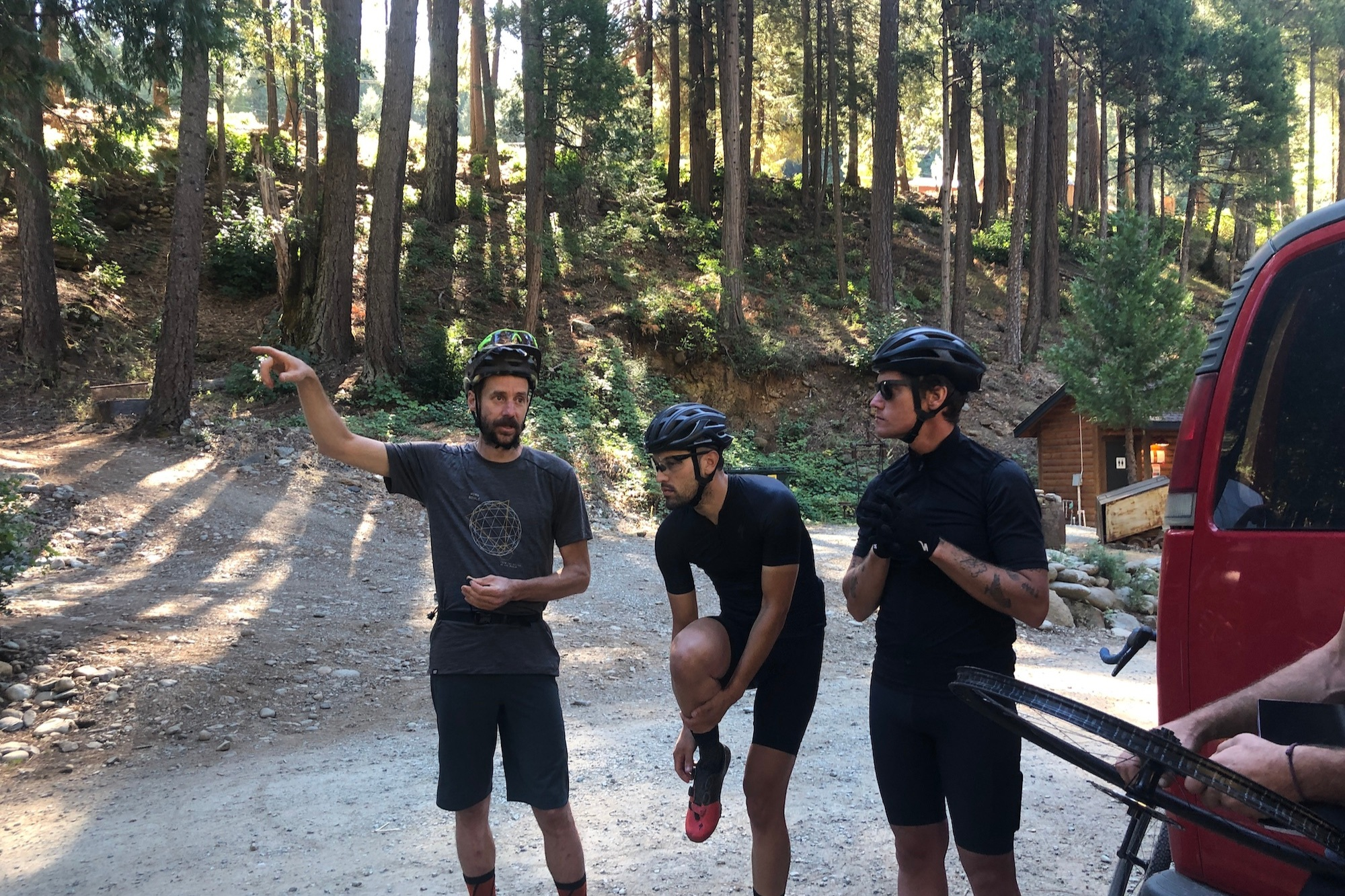 Cameron Falconer, a local rider and established framebuilder, gives the crew details on the planned route.