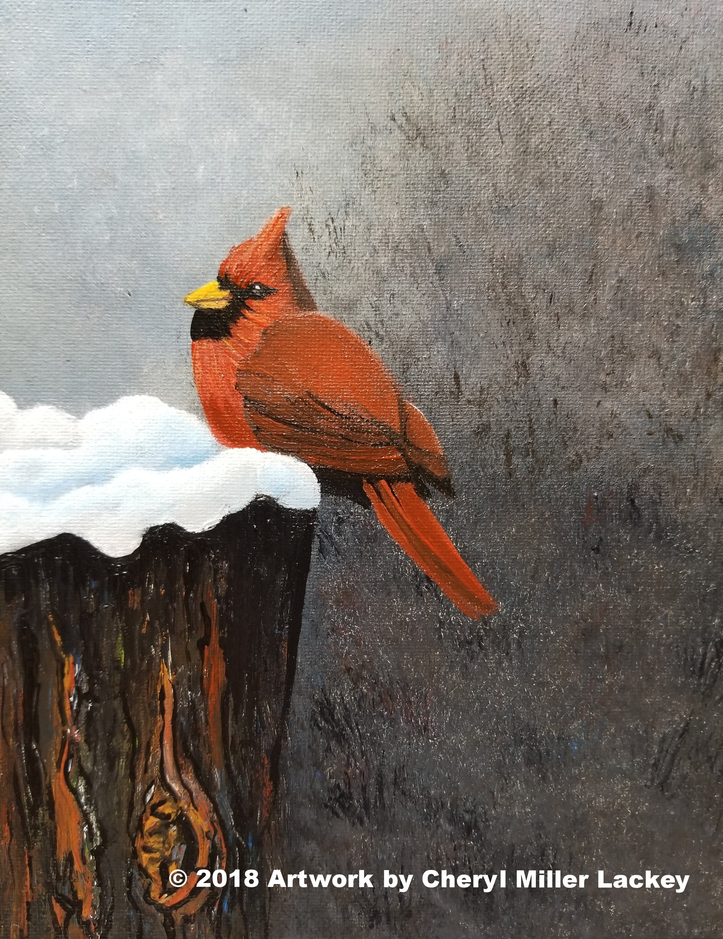 Cardinal on a Snowy Tree Stump, Acrylic 8 X 10.jpg