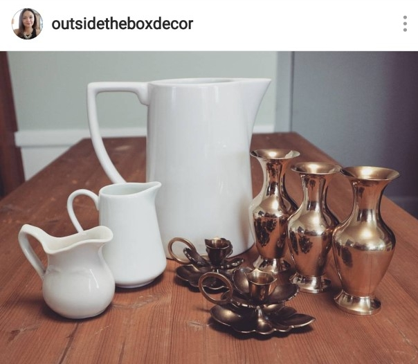Here are those candlestick holders that I was mentioning to you. Aren't they just so beautiful not to mention the gold vases I found. Plus the small little creamers and this awesome large pitcher. They were all great finds.