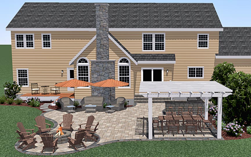 3D Rendering of New Patio Designed for Customer