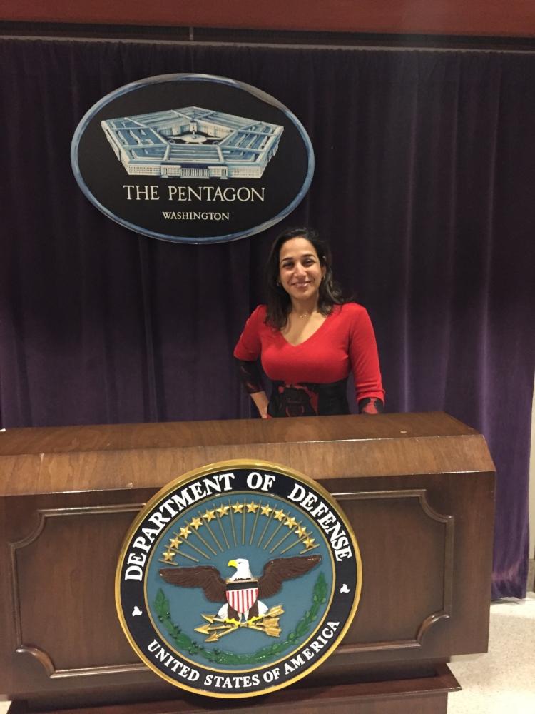 Fatema at the Pentagon wearing our Skyler Dress