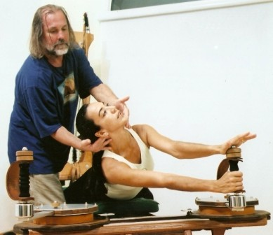 GYROTONIC EXPANSION SYSTEM creator Juliu Horvath guiding Master Trainer Rita Renha on the Cobra handle unit.