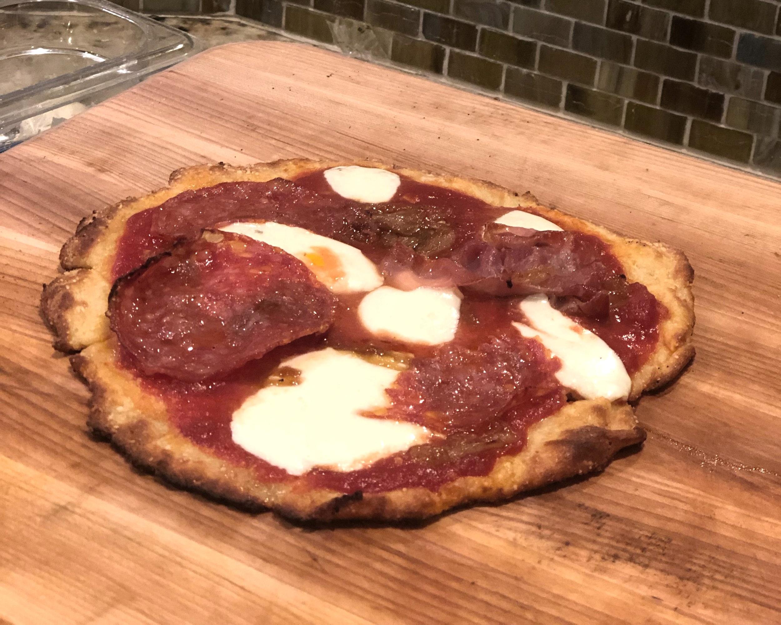 Keto pizza - Fresh Mozzarella, Prosciutto and Old world Pepperoni