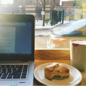 Flour Bakery never disappoints. Today's choice: lemon ginger scone and my usual window seat.