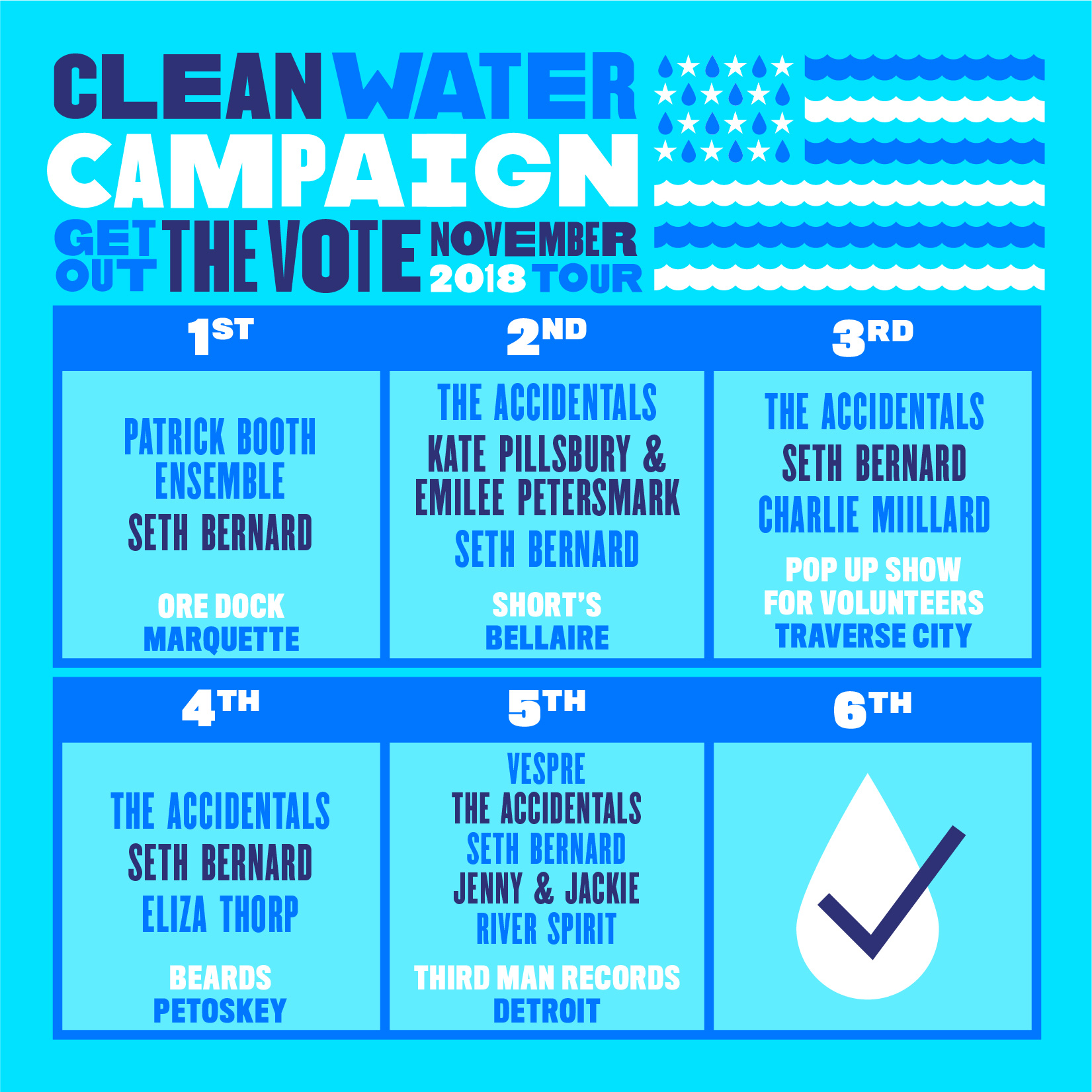 """ANNOUNCEMENT:  Clean Water Campaign for Michigan 's Get out the Vote Tour!!  NOV 1:  Patrick Booth Ensemble / Seth Bernard - CWC GotV (Marquette)  @  Ore Dock Brewing Company  NOV 2:  The Accidentals/Kate Pillsbury & Emilee Petersmark/Seth Bernard  (Bellaire) @  Short's Brewing Company  NOV 3:  The Accidentals/Charlie Millard/SethBernard - CWC GotV (Tr City)  @ Location TBA NOV 4:  The Accidentals/Seth Bernard/Eliza Thorp - CWC GotV (Petoskey)  @  Beards Brewery  NOV 5:  Vespre/The Accidentals/Seth Bernard/Jenny & Jackie/River Spirit  (Detroit) @  Third Man Records Cass Corridor   NOV 6: Vote, Vote, VOTE!!  Awesome concerts + short term directives + long term relationship building Music + speeches + Get out the Vote info + CWC video screenings  """"Those of us lucky enough to call the Great Lakes our home know that fresh, clean, safe water is our shared identity. Our shared legacy. Our shared responsibility. We've found ourselves in the midst of a crisis that will not fix itself. Let's make some magic happen and change the game together!""""  - Seth Bernard , Founder and Director of the Clean Water Campaign for Michigan  Poster: Will Thomas   #micleanh2o   #ourwater   #tuesday   michigancleanwater.org"""