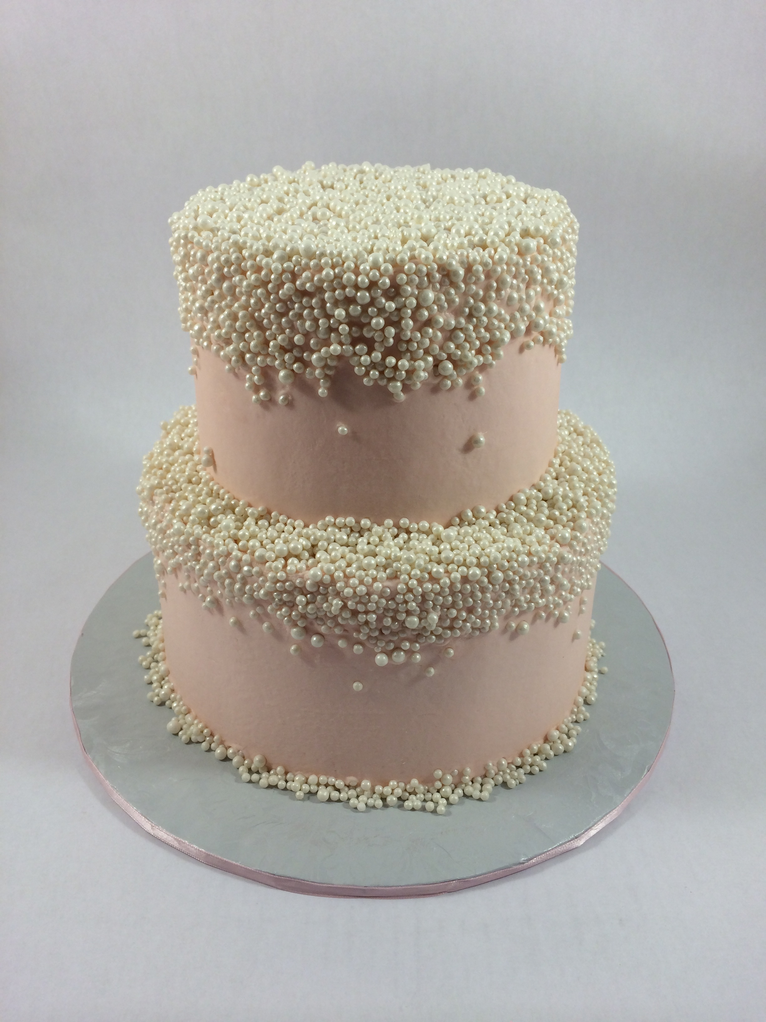 Cake with zillions of sugar pearls.JPG