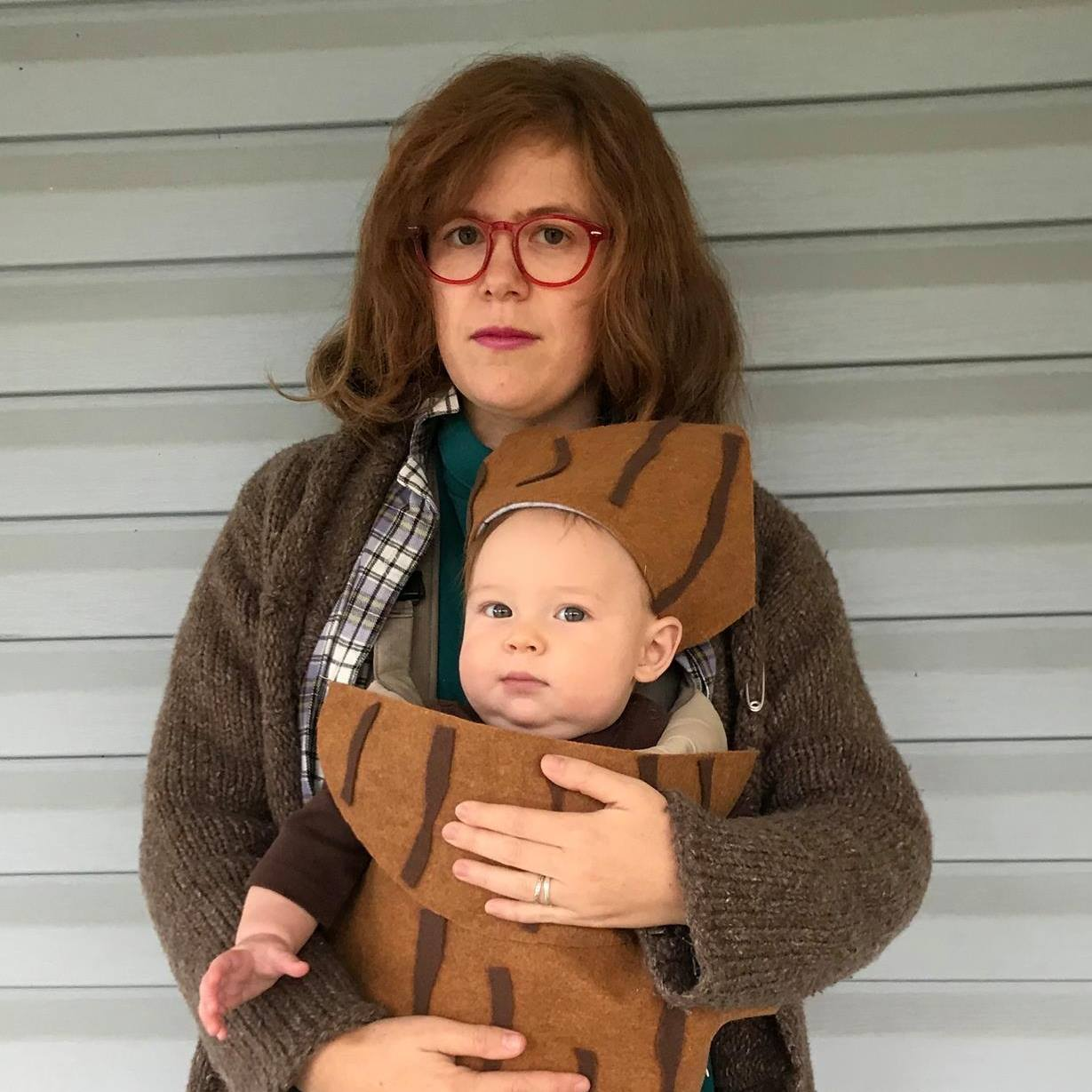 Me and River dressed up as the Log Lady and her log for Halloween 2017