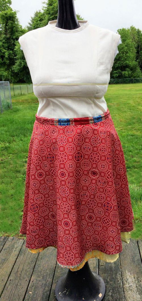 How to turn a wrap skirt into a normal skirt: Refashion tutorial convert a wrap skirt