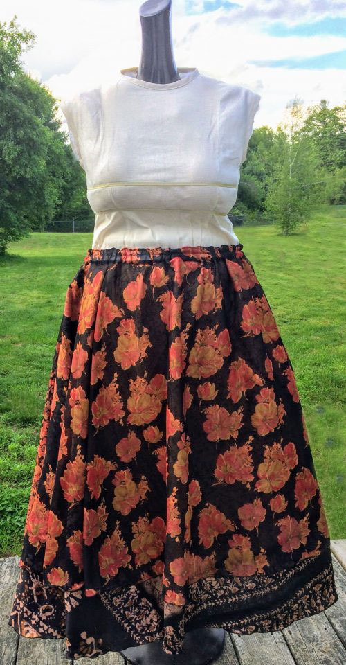 How to turn a wrap skirt into a normal skirt: Refashion tutorial to convert a wrap skirt to a regular skirt