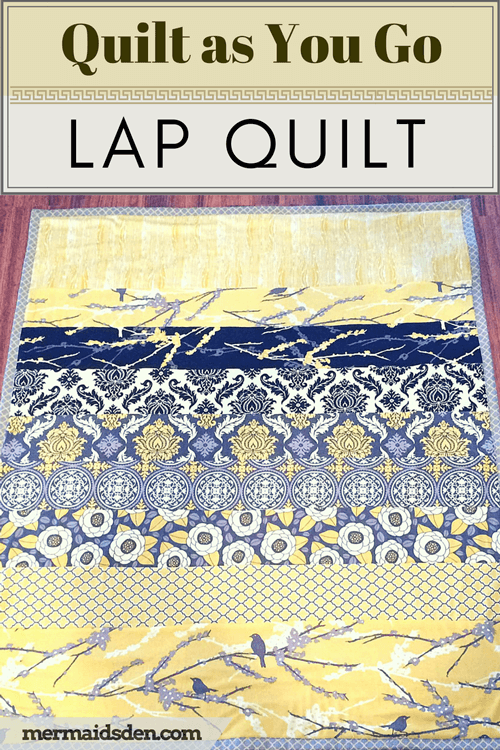 """Quick and Easy Beginner Quilt"" Free QAYG Quilt Pattern designed by the Mermaid from The Mermaid's Den"