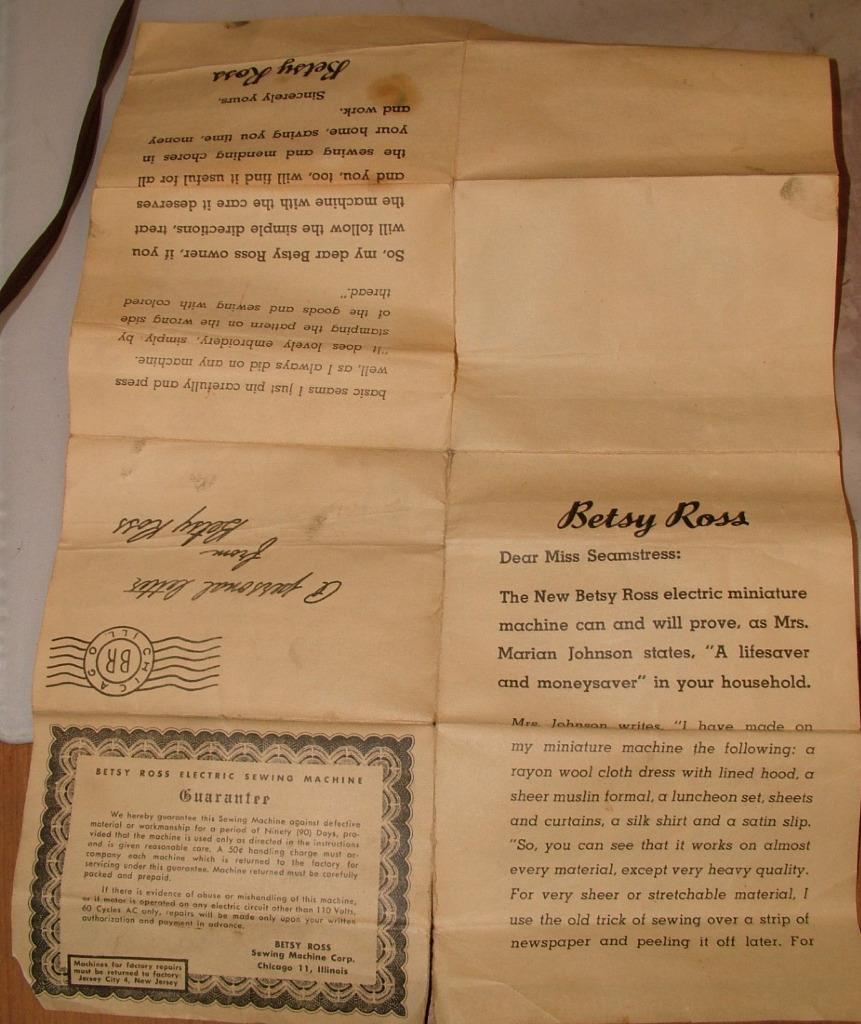 Betsy Ross Sewing Machine Instructions