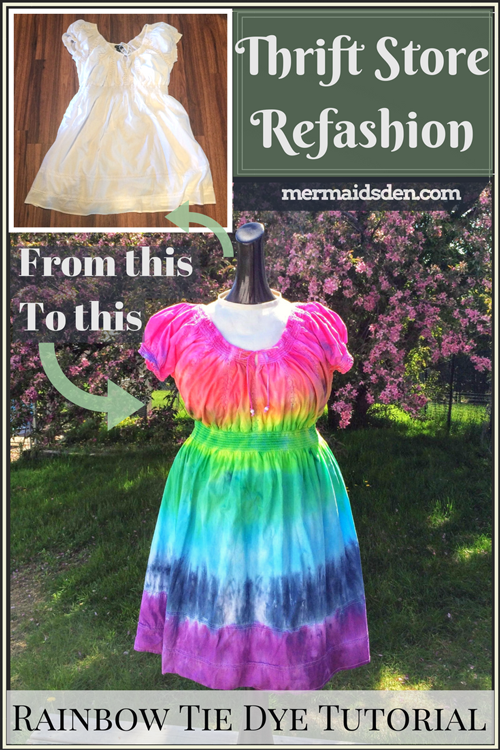 Thrift Store Refashion: Rainbow Tie Dye Tutorial for a Boring White Dress